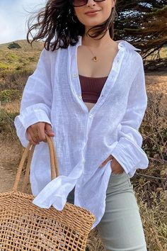 Details: Material: Linen SIZE(IN) Shoulder Bust Sleeve Length S 18.9 37.8 20.5 27.6 M 19.3 39.4 20.9 28.0 L 19.7 40.9 21.3 28.3 XL 20.1 42.5 21.7 28.7 White Linen Shirt, Ripped Shorts, Denim Romper, Flare Pants, Comfortable Fashion, Cover Up, Bell Sleeve Top, Tunic Tops, Long Sleeve