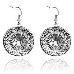 Bohemian Tibetan Drop Earings Vintage Silver Plated Round Hanging Earrings Women Ethnic Brincos Indian Jewelry