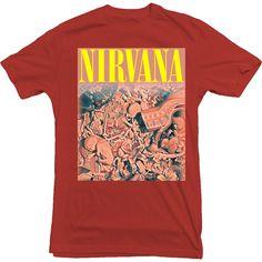 NIRVANA fetus collage shirt in utero RED kurt cobain jesus lizard... ❤ liked on Polyvore featuring tops, t-shirts, shirts, tees, shirt tops, red top, red t shirt, red shirt and t shirt