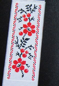 Cross stitch bookmark B38 RED BLACK FLORAL nice finished completed handmade #Any