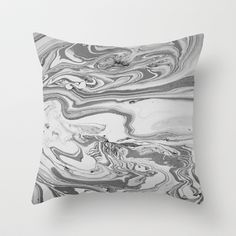 Black Marble Ink Effect Throw Pillow