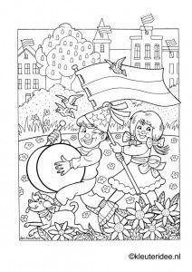 Kleurplaat koningsdag voor kleuters 2, kleuteridee.nl , The kigs day coloring. Kings Day, Colouring Pages, Stencils, Preschool, Doodles, Drawings, Prints, Zentangle, Art