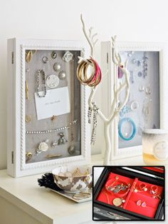Combine the magnet board idea (put magnets on the back of makeup for vertical easy-to-see storage) in a shadow box with a door so Liam can't get to them al easily