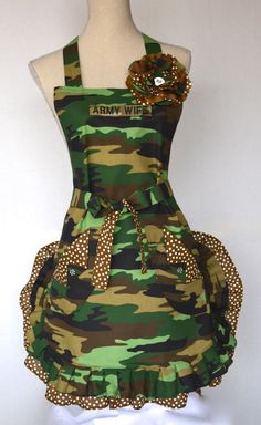 Womens Full Apron  US Army  Army Wife  Military by OliviabyDesign, $34.95 #camouflage apron #womens apron #army wife apron