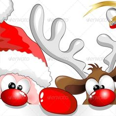 #Fun #Santa & #Reindeer #Cartoon - #Vector #graphics by #Bluedarkart - SOLD on #Graphicriver ^_^