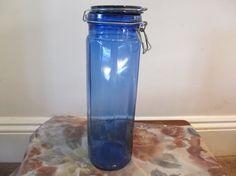 vintage cobalt blue glass fluted tall storage by OldEnglishMilly, £7.50 - could put beach pebbles in it and display