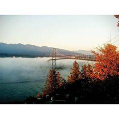A shot of Vancouver's Lions Gate Bridge disappearing into a cloud of fog.   Photo by @celinegabrielle_ via Instagram #explorebc #explorecanada