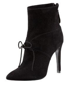 Giorgio Armani Suede Ankle-Tie Bootie, Black