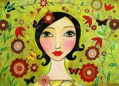 Portrait peinture papillons et fleurs d'Art populaire fille peinture Art Print sur peinture sur bois
