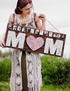 Sweet string art panel with photos can be a great gift