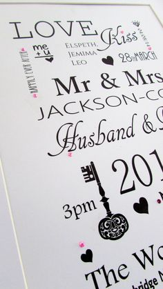 Classic Wedding Print. Perfect #wedding #anniversary #gift Personalise with : Bride and Groom's Name New Surname  Date - Engaged Date - Wedding Time of Wedding Wedding Venue Honeymoon Destination Children's Names Buy Online http://wowlovethis.co.uk/index.php… Order Via facebook & PayPal just inbox us #wedding #bride #grom #weddingday #happycouple #love #mrs #mr #marriage #gift #keepsake #unique #bespoke #handmade #craft