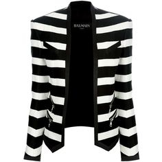 BALMAIN striped cropped blazer (6.420 BRL) ❤ liked on Polyvore featuring outerwear, jackets, blazers, tops, coats, cropped blazer, striped blazer, long sleeve jacket, pocket jacket and open front blazer
