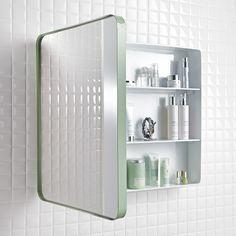 Spegelskåp Holger i retrostil! Skåp i plåt med förvaring och utvikbar dörr (svängel). Spegelskåpet har tre hyllor och levereras färdigmonterat. Spegelskåp