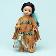 Princess Moccasins $63.96 Maybe you'll see her scampering through the woods gathering fruits, nuts, and berries; or perhaps you can watch her bead her lovely Native American dress. This 8 inch Wendy doll with a warm complexion, has brown eyes and long black braids tied back and decorated with blue and white feathers. She's wearing an amber suede outfit that combines a long, fringed skirt with a top that has long, fringed sleeves.......(visit www.duchessoutlet.com for full product…
