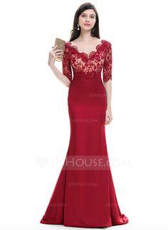 [US$ 146.69] Trumpet/Mermaid V-neck Sweep Train Satin Evening Dress