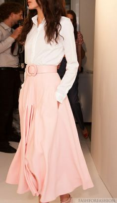 pale pink.   Lovely outfit!