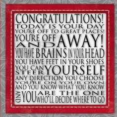 you have brains in your head dr seuss print contemporary cafe mount 6x6 red gray black