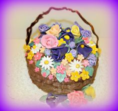 BASKET OF LOVE CAKE MADE WITH FONDANT FLOWERS