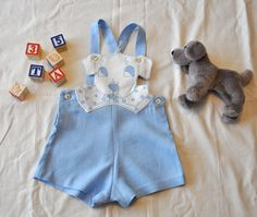 Baby boy vintage inspired sun suit 12/18 month by ailesdiaphanes, $65.00