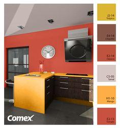 Colores fuera de lo ordinario para una cocina especial. #Comex #México #decoración #interiorismo #decoracion #deco #design #interior #interiorismo