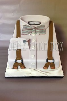 Bow Tie and Shirt Cake Bow Tie Cake, Masculine Cake, Dad Cake, Shirt Cake, Cupcake Cakes, Cupcakes, Birthday Cakes For Men, Fashion Cakes, Novelty Cakes
