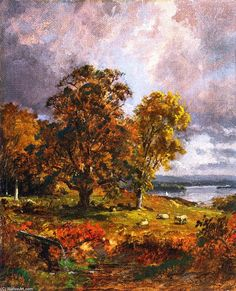 'Landscape with Trees', Oil On Canvas by Jasper Francis Cropsey (1823-1900, United States)