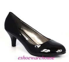 low heel black dress pumps | ... about Soo Cute Black Patent Low Mid Heels Pumps Round Toe Dress Shoes