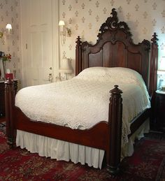 This bed   What a terrific find  I d sooo love to have this  http     bedroom suite  flame mahogany early Victorian by Mitchell and Rammelsburg  ca bed  97 W  Dresser  97 D
