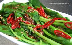 Resep Kailan Siram Saus Tiram Mudah ~ Easy Kailan with Oyster Sauce Recipe - Arie's Kitchen Sauce Recipes, Meat Recipes, Asian Recipes, Cooking Recipes, Healthy Recipes, Malaysian Cuisine, Chinese Vegetables, Indonesian Food, Indonesian Recipes