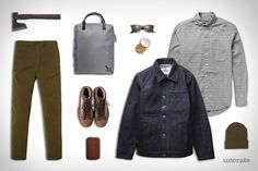 Gitman Vintage Shirt ($210). Rogue Territory Denim Supply Jacket ($255). Paul Smith Tapered Chino ($169). Saturdays X Porter Back Pack ($210). Tanner Goods x Danner Sherman Boots ($225). Best Made Japanese Axes ($174). Exotac candleTIN Tinder ($5). Bellroy Elements Phone...