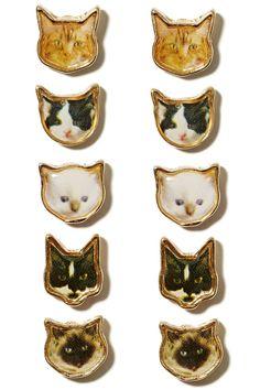 Cool assortment of cat earrings...