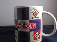 Monopoly Game Coffee Mugs/Cups 2002 Hasbro by Sherwood Brands Atlantic City