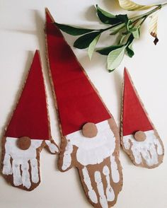 Cute and easy preschool handprint santa Christmas art decoration idea to make Luukku.com