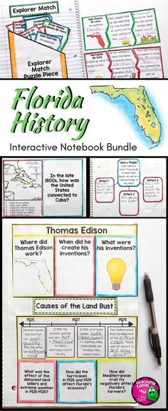 Florida History Interactive Notebook Social Studies BUNDLE - This resource covers all the 4th grade Florida history standards. You get graphic organizers, maps, other interactive pieces, guiding questions & topics, and more. These interactivities support students' reading skills. Topics include geography, early people, exploration, colonization, early history, modern times, people, economy, and government. {fourth graders, 4th grade, FL history, US History, U.S. History}