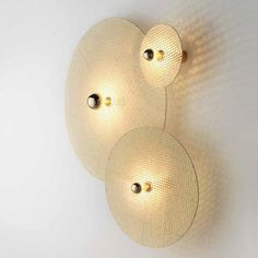 Disque Wall Lamp Metal Shiny Gold / Natural Rattan Wheel I The Disque wall lamp creates decora Decoration Design, Lamp Design, Rattan, Light Picture Wall, Bedside Wall Lights, Tan Walls, Bamboo Light, Stair Lighting, Interior Lighting