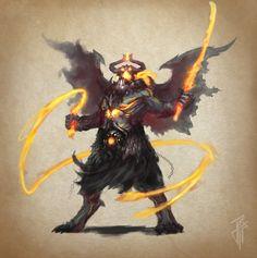 Demon Balor, Julien Carrasco on ArtStation at… Fantasy Creatures, Mythical Creatures, Fantasy Character Design, Character Art, Balrog, Medieval, Dnd Monsters, Dnd Art, Warhammer Fantasy