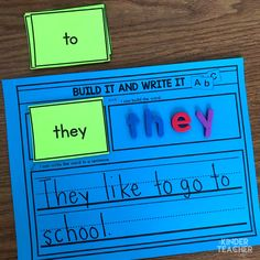 Sight word activity - build the word and use it in a sentence. Sight Word Sentences, Teaching Sight Words, Sight Words List, Sight Word Games, Sight Word Activities, Phonics Activities, Simple Sentences, Teaching Time, Literacy Activities