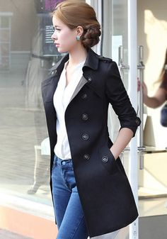 Love Trench Coats! Great with Blue Jeans! Black Plain Epaulet Double Breasted Trench Coat #Trench #Coat #Fashion