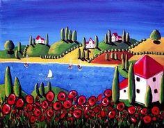 Poppies Sailboats Colorful Folk Art Giclee by reniebritenbucher