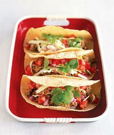 Meaty Soft Tacos from realsimple.com #myplate #protein #vegetables...YUM! www.annjaneliving.com