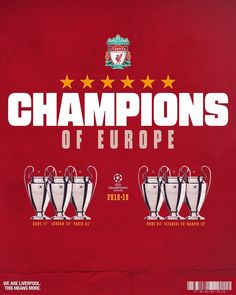 The Sixth Champions Of Europe. Liverpool Kop, Liverpool Life, Salah Liverpool, Liverpool Football Club, Liverpool Fc Wallpaper, Liverpool Wallpapers, Uefa Champions League, Uefa Football, Premier League Winners