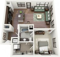 Floor plans - one bedroom tiny house κατόψεις σπιτιών, σχέδι One Room Apartment, Apartment Floor Plans, Apartment Layout, Apartment Design, Apartment Ideas, Apartment Living, Living Room, Small Apartment Plans, Apartment Bedrooms