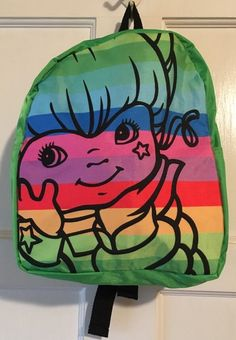 Rainbow Brite Mini Bookbag Backpack Green RARE   eBay