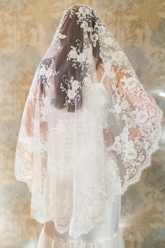 Blossom Veil Mantilla Veil All Lace Veil by MarisolAparicio
