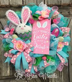 Spring Wreath Spring Door Spring Decor Bunny by BaBamWreaths Easter Projects, Easter Crafts, Easter Ideas, Easter Decor, Easter Wreaths, Holiday Wreaths, Spring Wreaths, Wreath Crafts, Diy Wreath