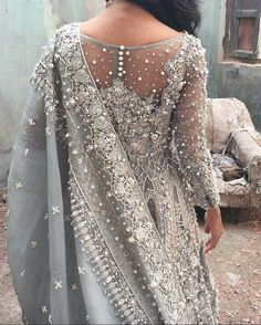 Embroidered details on the back of a bridal jorha.