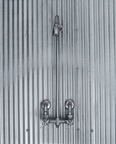 farmhouse bathroom shower ideas | What says farmhouse shower better than a corrugated steel shower?
