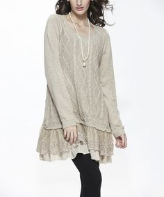 Love this Beige Ruffle-Hem Tunic on #zulily! #zulilyfinds