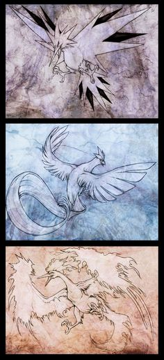 Legendary Birds by Exileden.deviantart.com on @deviantART #pokemonart