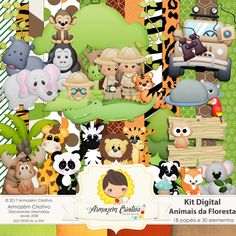 kit digital animais na floresta - Armazém Criativo